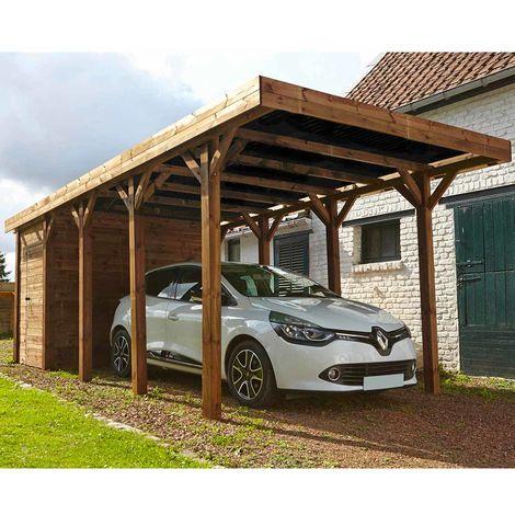 MADEIRA- En bois traité autoclave marron, toit gris anthracite, 1 voiture, 20m² dont un Abris de jardin intégré de 3,8m²- pergola en pin sylvestre- arche de jardin en bois - qualité garantie- dimension extérieur : 304 X 660cm, Hauteur 241 cm- Harry