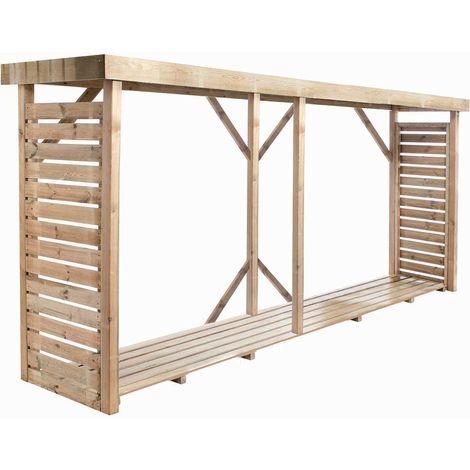 MADEIRA- Grand abri de stockage de bois de chauffage- étagère XL pour bois de cheminée- bûcher en pin sylvestre autoclave- Toit plat avec un revêtement en feutre bitumeux et plancher - porte 5,4 stères de bûches de 33cm- L. 320x l.89.5xH183cm - 3,8m3- Dal