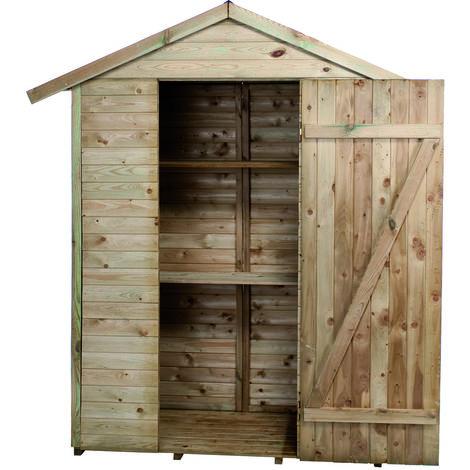 Madeira-Rangement- Grande Armoire de jardin -pin sylvestre-Remise pour outils-2 étagères- bois traité autoclave- toit en pente- L193x l 83xH.220 cm/1,05 m²- Léo