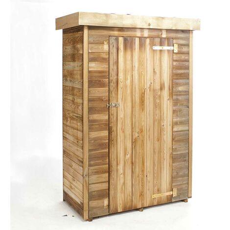 Madeira-Rangement- Grande Armoire de jardin -pin sylvestre-Remise pour outils-3 étagères- bois traité autoclave- Abris de jardin toiture plate en feutre bitumeux- L130x l 69xH.200 cm/0,72 m²- Théo