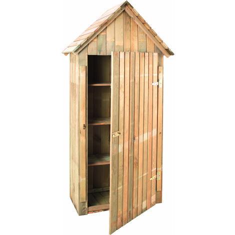 Madeira-Rangement- Grande Armoire de jardin -pin sylvestre-Remise pour outils-3 étagères- bois traité autoclave- toit en pente- L93x l 60xH.193 cm/0,35 m²-Wissant