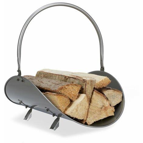 Madera del fuego de plata metálica cesta
