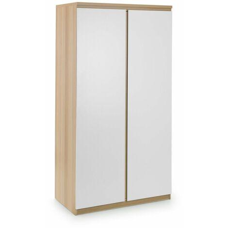 Madge 2 DOOR Bedroom WARDROBE WHITE High Gloss & OAK