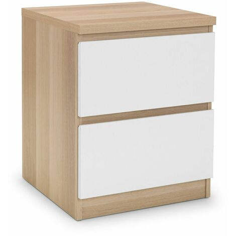 Madge 2 Drawer Bedside Table Cabinet Nightstand White Gloss & Oak