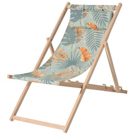 Madison Chaise de plage en bois Dotan Bleu et orange