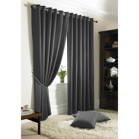 """Madison Charcoal Grey Eyelet Curtains 66 x 90"""" Fully Lined Ready Made Ring Top"""