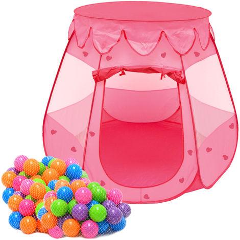 Mädchen Bällebad Zelt 200 Baby Bälle Kinderzelt Spielzelt 120x120x90cm Rosa