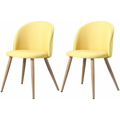 MAEVA - Lot de 2 chaises scandinave - Tissu - Noir - pieds en métal design salle a manger salon - 52 x 48 x 79 cm - Noir