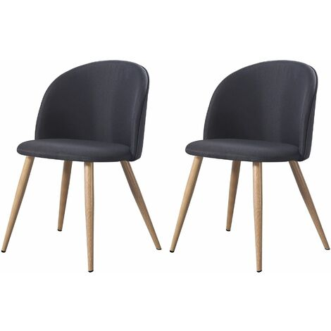 MAEVA - Lot de 2 chaises scandinave - Tissu - Vert canard - pieds en métal design salle a manger salon - 52 x 48 x 79 cm - Vert canard