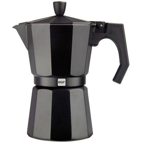 MAGEFESA 01PACFKEB09 - Cafetera 9 tazas en aluminio esmaltado noir