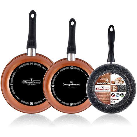 Magefesa Copper Set Juego 3 Sartenes 20-24-28 cm, inducción, antiadherente PIEDRA libre de PFOA, color cobre, limpieza lavavajillas apta para todas las cocinas, vitroceramica, gas, Fabricadas en España