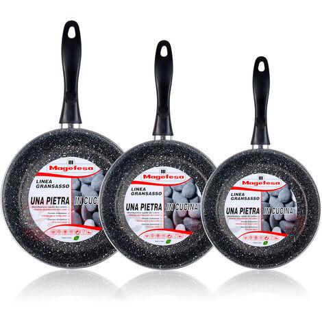 Magefesa K2 Gransasso - Set Juego 3 Sartenes 20-24-28 cm, inducción, antiadherente PIEDRA