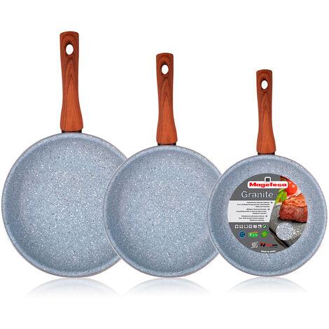 Magefesa Marmol - Set Juego 3 Sartenes 18-20-24 cm, inducción, antiadherente granito