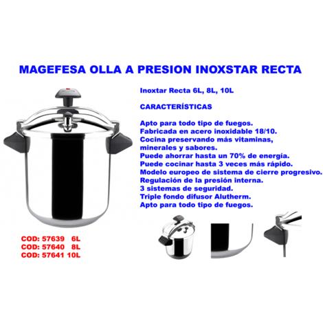 MAGEFESA OLLA A PRESION INOXSTAR 6 LITROS RECTA TODO TIPO FUEG