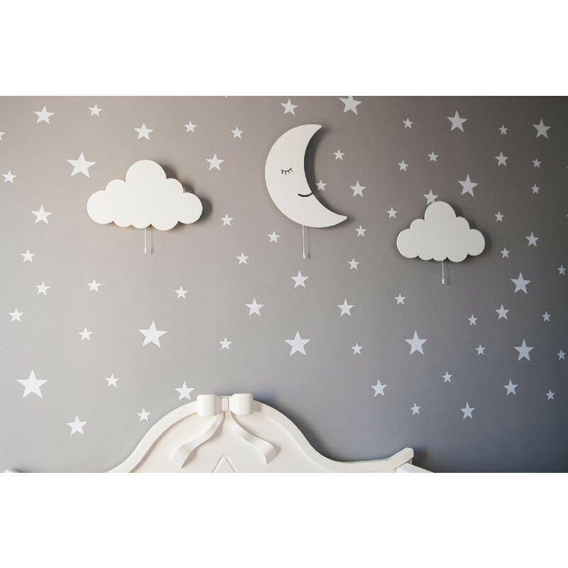 Homemania - Magic Dreams PANTONE Wandleuchte - Mond, Wolke, Applikation - fuer Kinder - fuer Schlafzimmer - Weiss aus MDF, 40 x 3 x 25 cm, 3 x LED