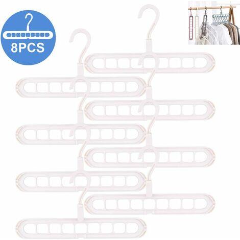 Magic Hanger Organizer Space Saver, Magic Hanger Multi Hanger Organizer 8 Pack Standard-Bügel mit 9 Löchern rutschfeste Kleiderbügel Kleiderbügel Kaskadierung (weiß)