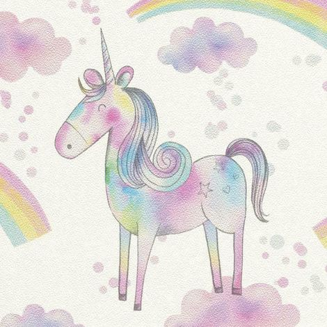 Magical Unicorn Wallpaper Girls Metallic Pink Blue Horse Pony Rainbow Rasch