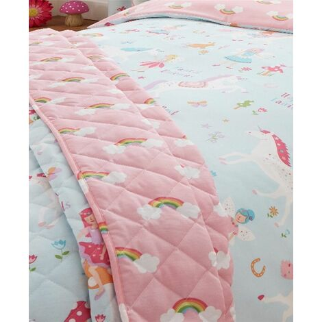Magical Unicorns Bedspread 150 X 200cm Quilted Throwover Blue Girls Bedroom