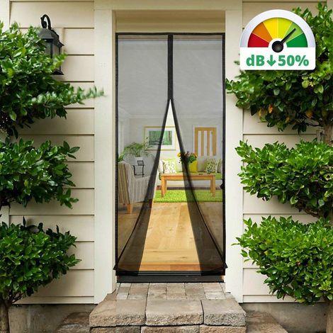 Magnet Fliegengitter Tür Vorhang Anti-Insekten für Holz, Eisen, Aluminium Türen und Balkon, 210 * 90cm, Schwarz