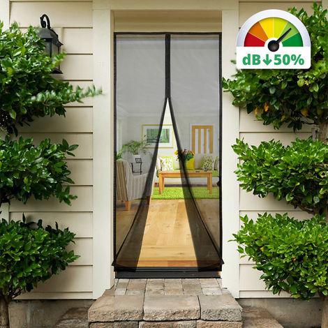 Magnet Fliegengitter Tür Vorhang Anti-Insekten, für Holz, Eisen, Aluminium Türen und Balkon. Einfache Installation, 210 * 90cm, Schwarz