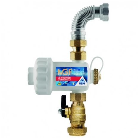 Magnetic filter MGF white with valve and compression fitting 22 - RBM : 37010510