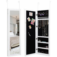 Magnetic Mirrored Jewelry Cabinet Armoire Organizer Storage Hanging Door Wall