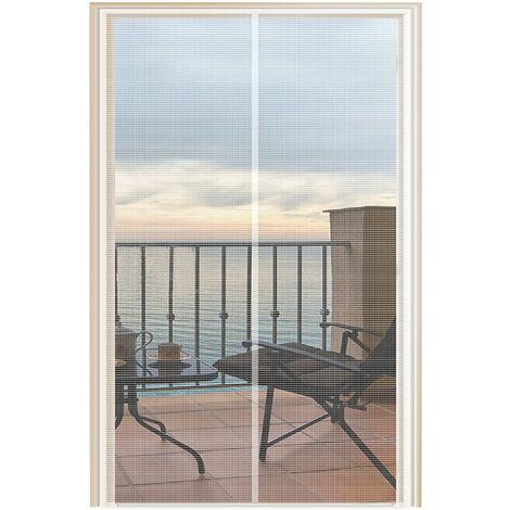 "main image of ""Magnetic Screen Door 32 x 82, Screen Sliding Door Mesh Curtain with Heavy Duty Magnet-White"""