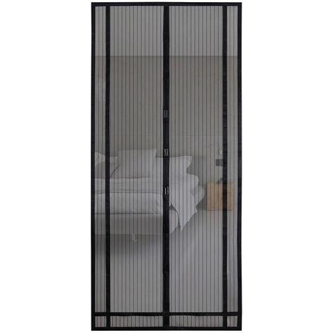 Magnetvorhang zum Insektenschutz, idealer magnetischer Fliegengitter für Balkontür, Kellertür, Terrassentür (zuschneidbar in Höhe und Breite) durch kinderleichte Klebemontage, schwarz, 220*130cm