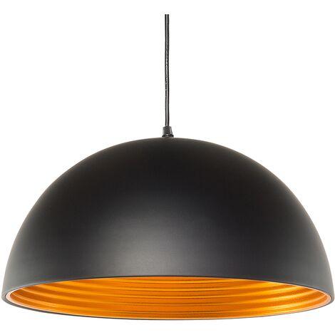 Magnifique lampe suspendue noire avec reflet doré