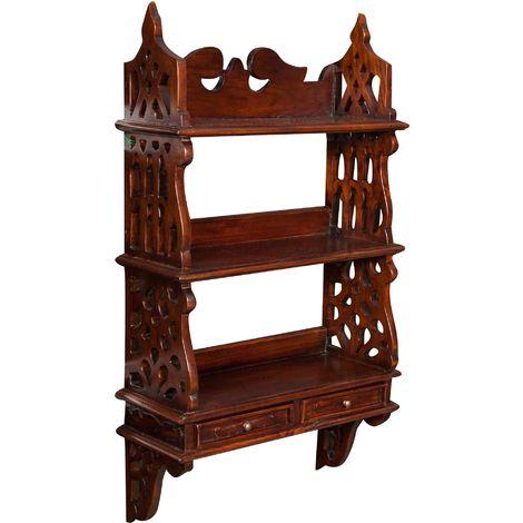 Mahogany wood made walnut finish W52XDP20XH90 cm sized wall unit ?tag?re shelf