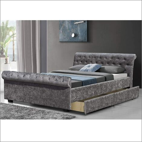 Maia Luxurious Charcoal Fabric Sleigh Bed with 4-Drawer Storage