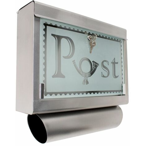 Mailbox stainless steel with glass front and newspaper tube - letterbox, post box, stainless steel letterbox - silver