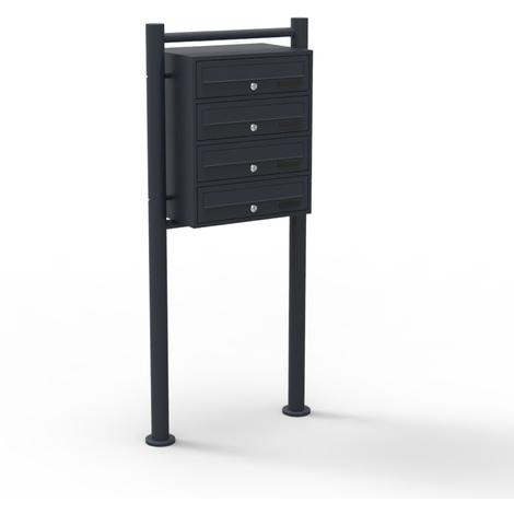 Mailbox System 4 Doors black Letterbox Postbox Pillar Letter Mail Post Box