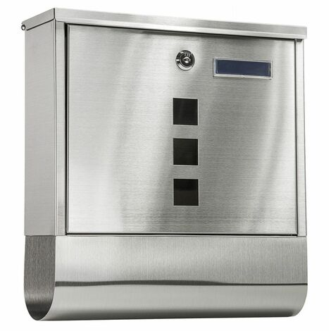 Mailbox with newspaper tube type 1 stainless steel - letterbox, post box, stainless steel letterbox - silver - silver