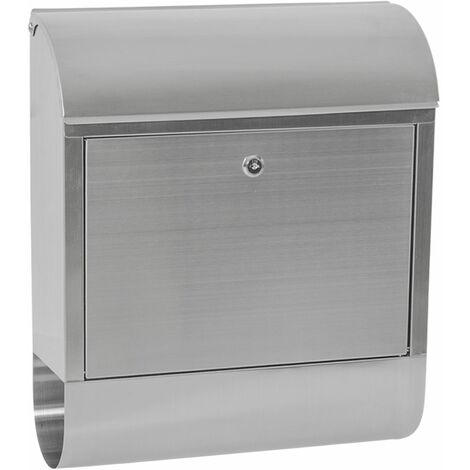 Mailbox with newspaper tube XXL stainless steel - letterbox, post box, stainless steel letterbox - grey