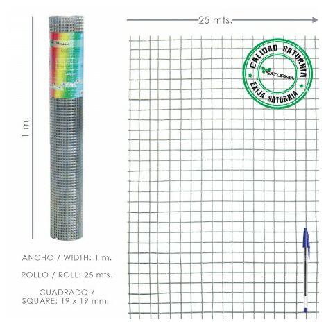 Maille électrosoudée galvanisée 19x19 / 100 cm. rouleau 25 mètres utilisation domestique
