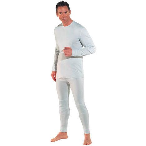 Maillot de corps en coton blanc à manches longues pour homme - taille L