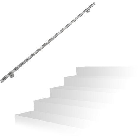 Main courante, inox 201, rampe d'escalier rond, intérieur & extérieur, 200 cm, Ø 38 mm, support mural, argenté
