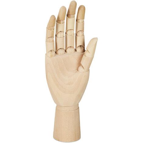 Main en bois, droite HlP 25x8x5 cm, doigts mobiles, dessin réaliste, aide á la peinture, main modèle, nature
