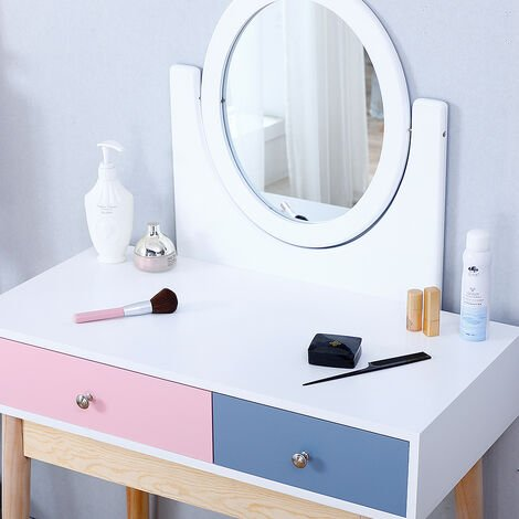Main powder and secondary blue, double drawer dressing table with mirror 80 * 40 * 130cm