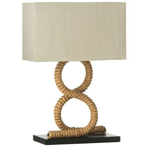 Maine Table Lamp/UK Plug, Jute Rope, Flax Fabric Shade - Maritime Style