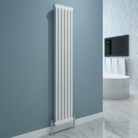 Maine White 1500 x 284 Vertical Double Column Designer Radiator Central Heating