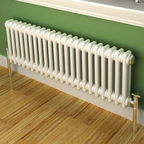 Maine White 300 x 988 Horizontal Double Column Designer Radiator Central Heating