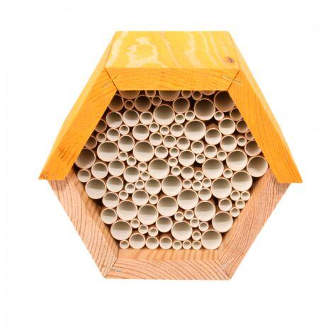 Maison à abeilles hexagonale - L 14,6 x l 14,8 x H 12,8 cm