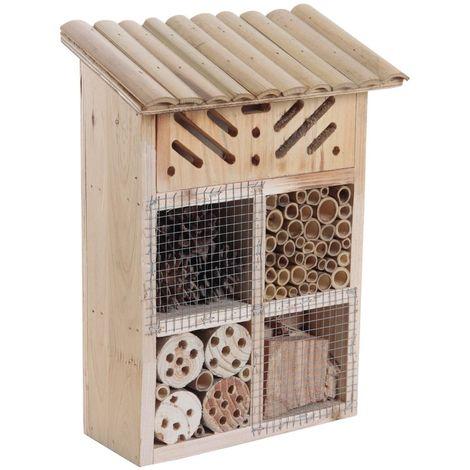 Maison à insectes en bois et bambou