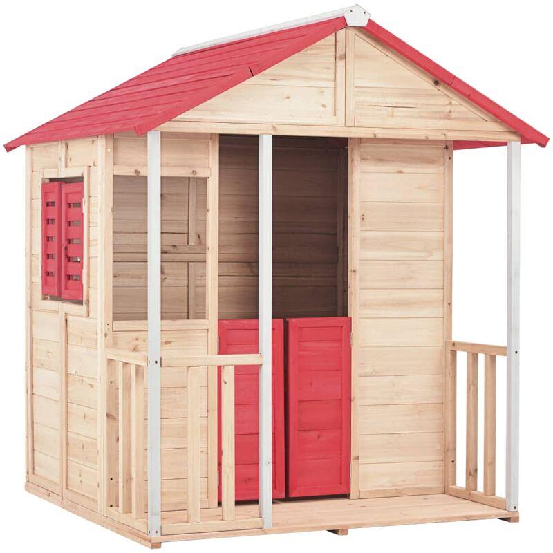 Maison de jeu pour enfants Bois de sapin Rouge - VIDAXL