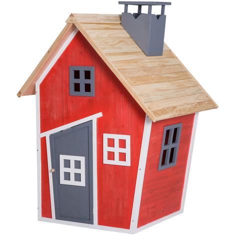 Maison de jeux pour enfants jeu plein air enfants porte fenêtres lucarnes cheminée 1,2L x 1,02l x 1,57H m bois épicéa rouge