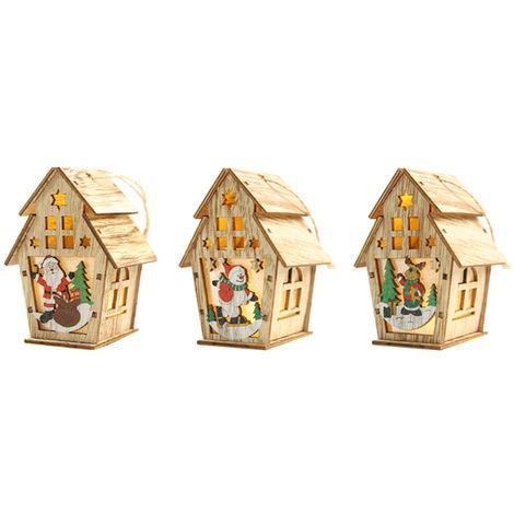 Maison De Neige De Bricolage, Avec Lumiere, Decoration De No?l, 3Pcs, S