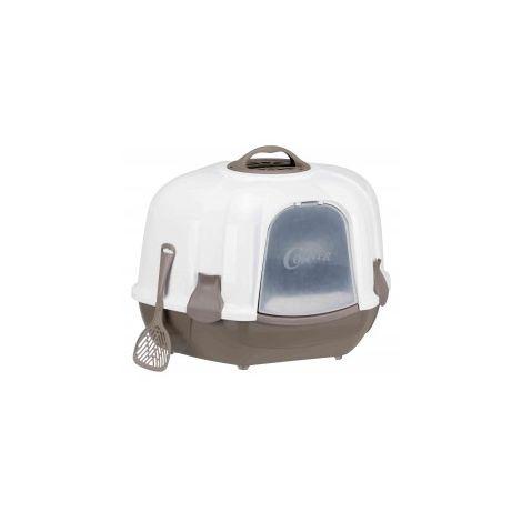 Maison de toilette chat, Bac à litière d'angle Maro, avec couvercle 60 × 43 × 52 cm