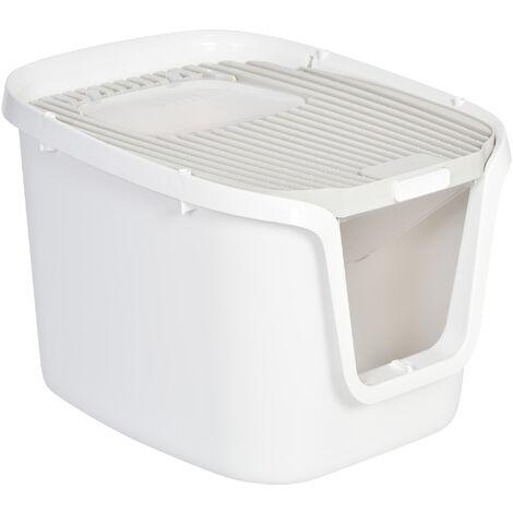 Maison de toilette pour chat - bac à litière chat - double porte battante et supérieure - filtre odeur + pelle fournis - blanc gris